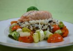 Lachs mit Reis und Gemüse